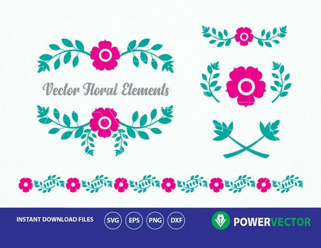Flowers svg. Pink floral elements. Floral wreath clip art. Floral Svg Designs. Flower borders, decorations svg