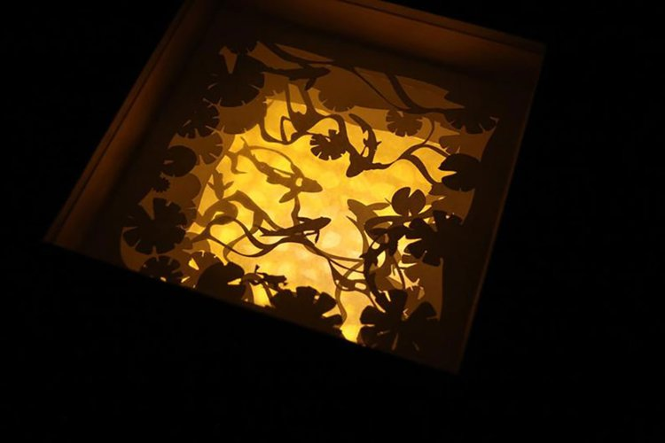 126 KOI Fish, 3d paper cut lightbox template example image 1