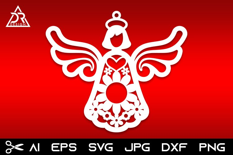 Christmas angel paper cut SVG DXF EPS file