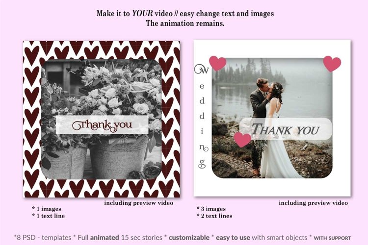 MOCKUP - Animated Instagram templates, Wedding, inc. custom example 4