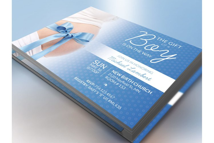 Baby Shower Invitation Photoshop Template example 4