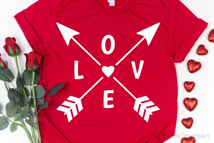 Love with Crossed Arrows SVG, DXF, PNG, EPS