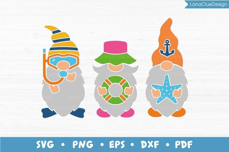 Beach Gnomes SVG - Summer Gnomes - Diving Gnome - Vacation