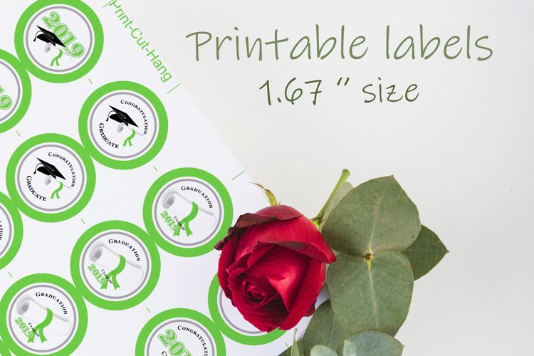 Green Printable Party Stickers Graduation 2020 - size 1.67 i example image 1