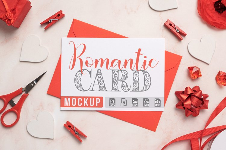 Romantic Card with Envelope Mockup example image 1
