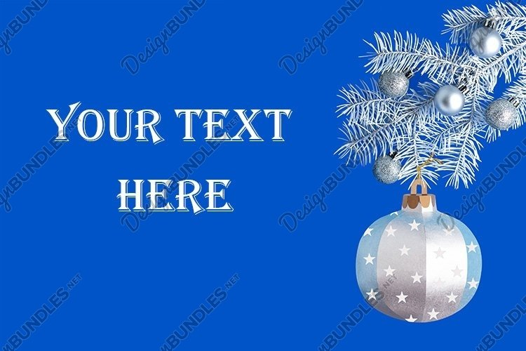 Silver paper ball on white branch of Christmas tree example image 1