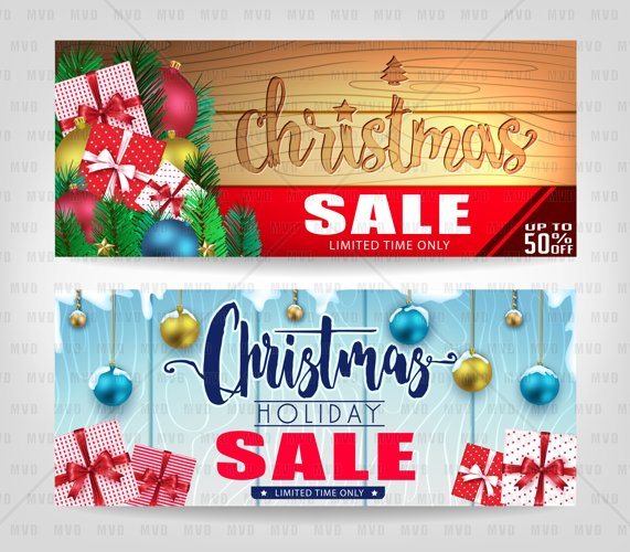 Christmas Sale Banners with Different Color Wooden Background