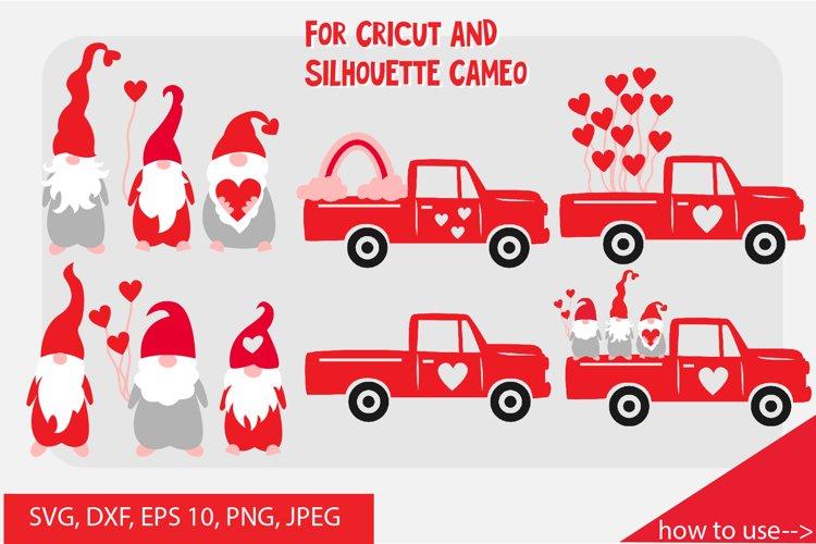 Valentine gnome, valentine truck SVG cut files bundle