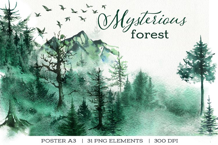 Landscape mountains watercolor, trees and birds set.