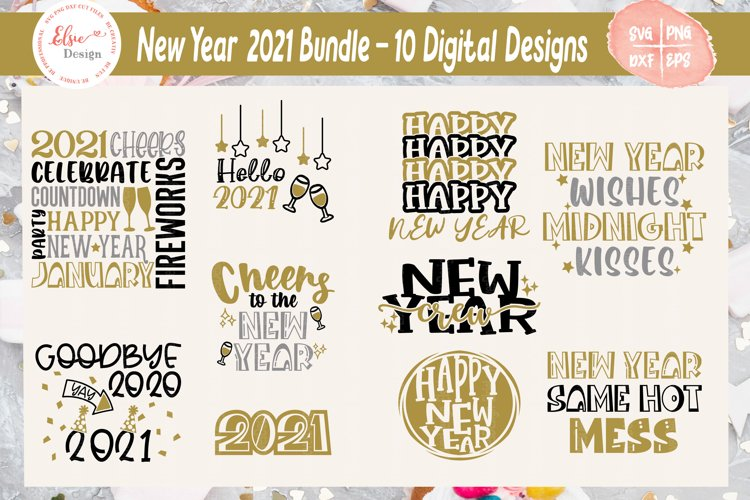 Happy New Year 2021 Bundle SVG Cut Files example image 1