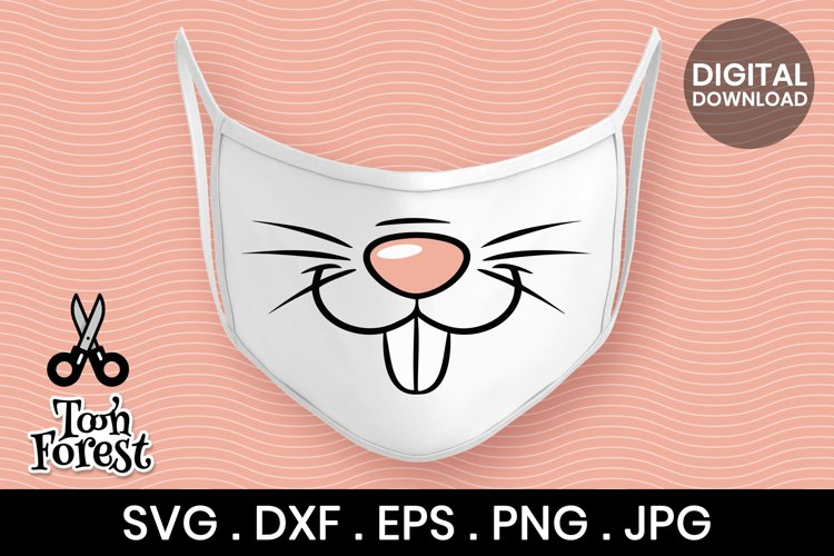 Easter Bunny Face SVG, DXF, EPS, and Png cut files for kids