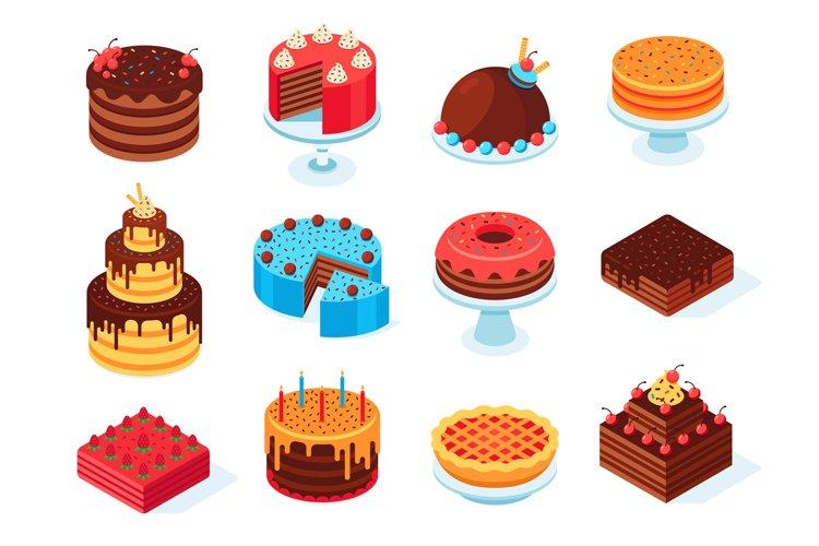 Isometric cakes. Chocolate cake slice, delicious sliced birt example image 1