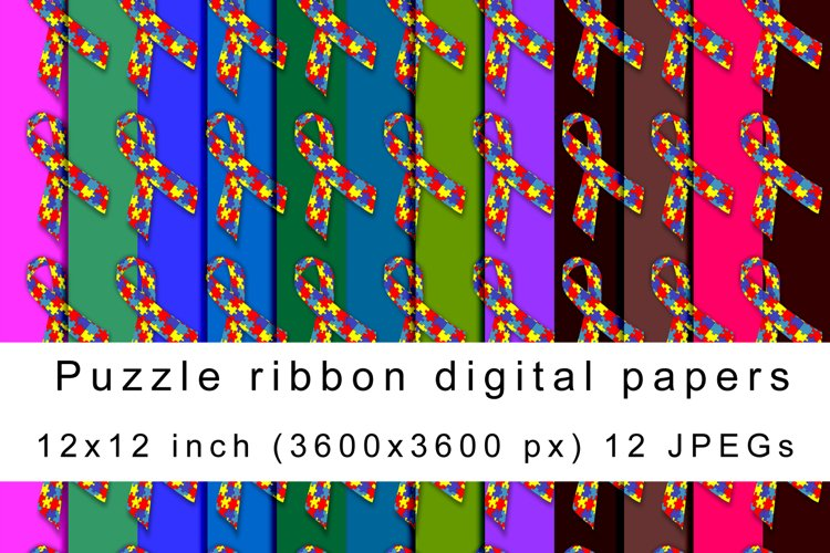 Puzzle ribbon digital papers