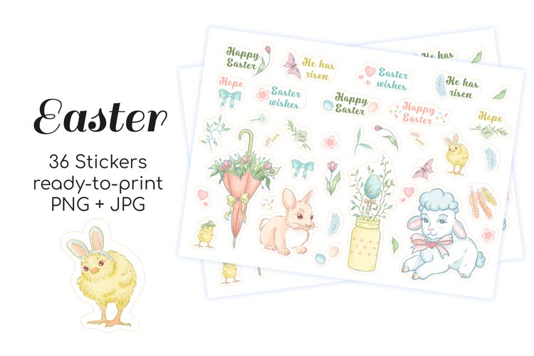 Colored Easter Printable stickers with bunny, chick and lamb