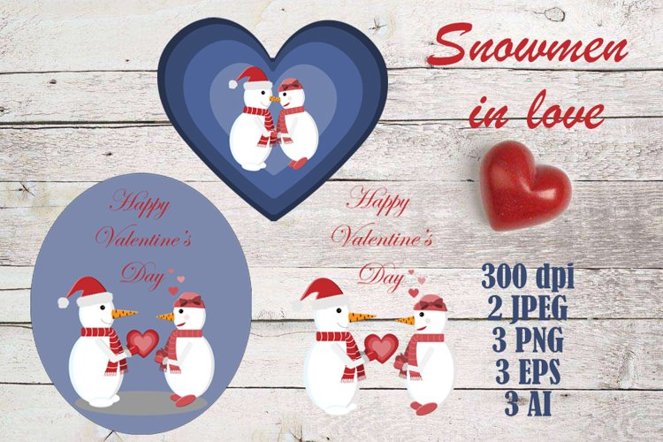Snowmen in love - vector illustration for Valentine's day. example image 1