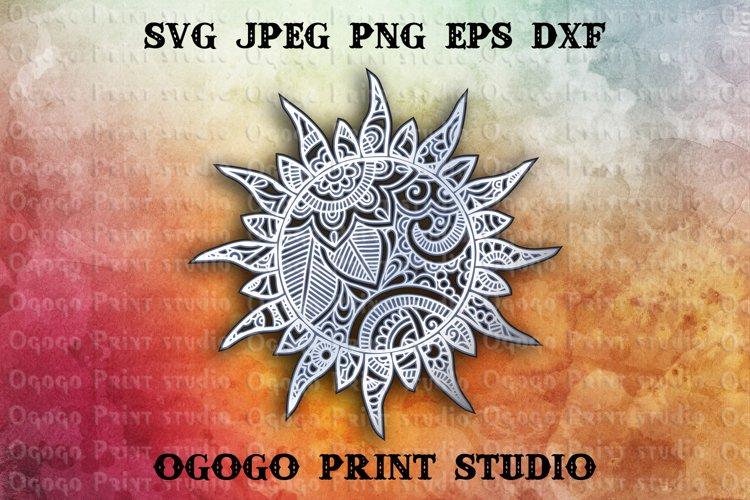 3D Layered Sun Mandala Svg, Zentangle SVG, Summer Svg
