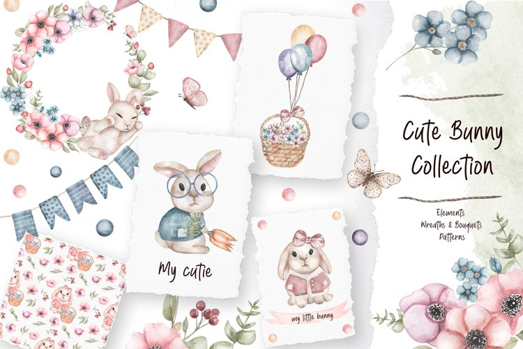 Watercolor Cute Bunny Collection example image 1