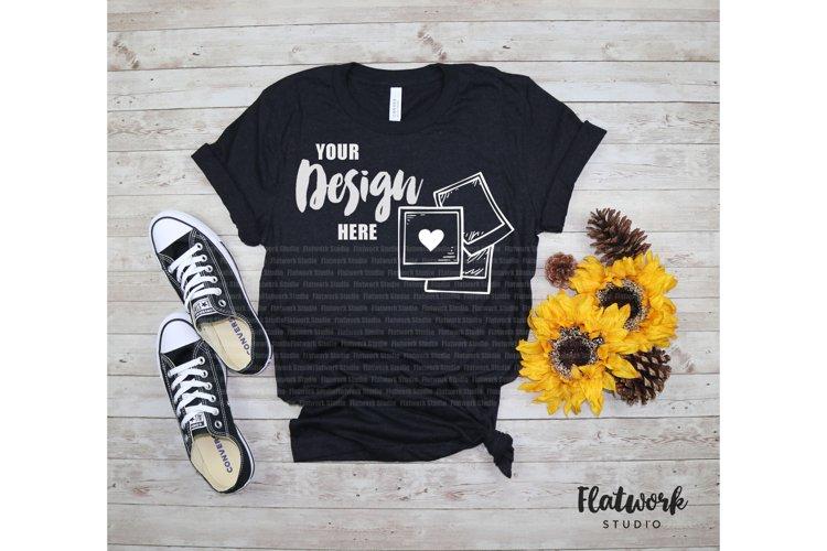 Fall Mockup | Bella Canvas 3001 T-shirt | Black Heather example image 1