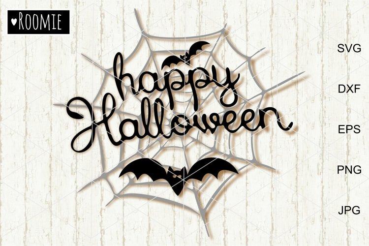 Happy Halloween Svg, Spider Web and Bats svg cut file, Decor