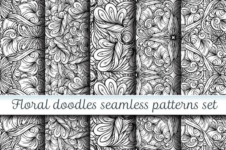 Floral doodles seamless patterns set