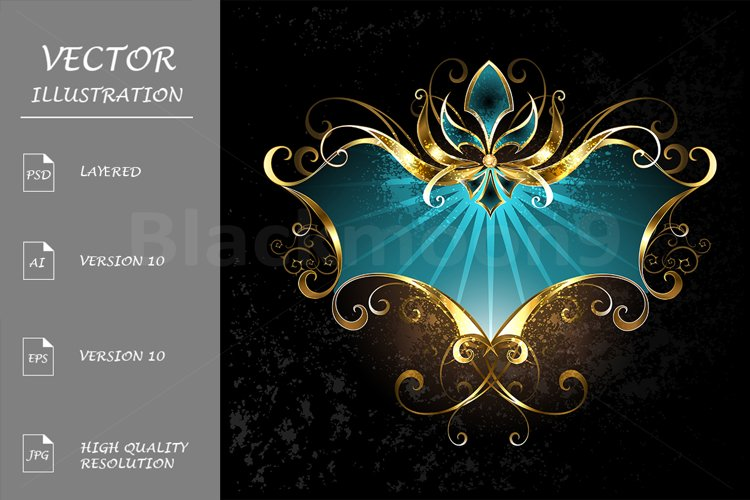 Turquoise Banner with Fleur De Lis example image 1