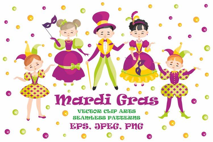 Mardi Gras mini set. Vector clip arts and seamless patterns.