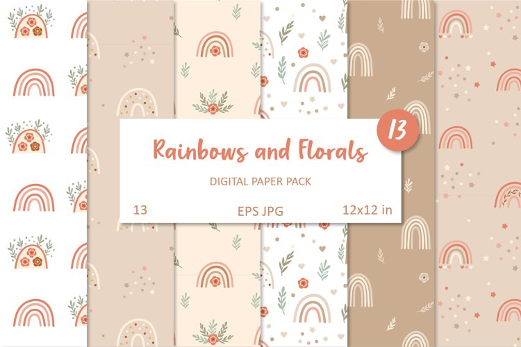 Floral Rainbows. Boho Seamless Patterns Collection, EPS, JPG