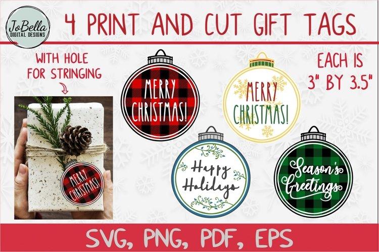Print and Cut Christmas Gift Tag Bundle of 4 Designs