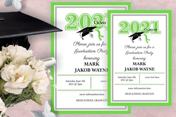 Invitation Template editable text - GREEN - Graduation 2021 example image 1