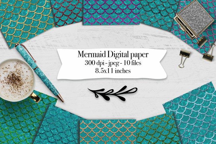 Mermaid scales on water texture - 10 digital papers example image 1