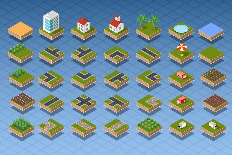 Isometric city map set
