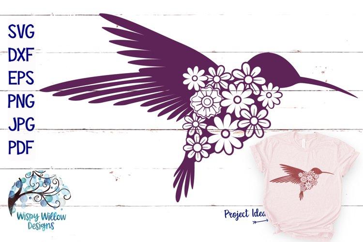 Floral Hummingbird SVG Cut File