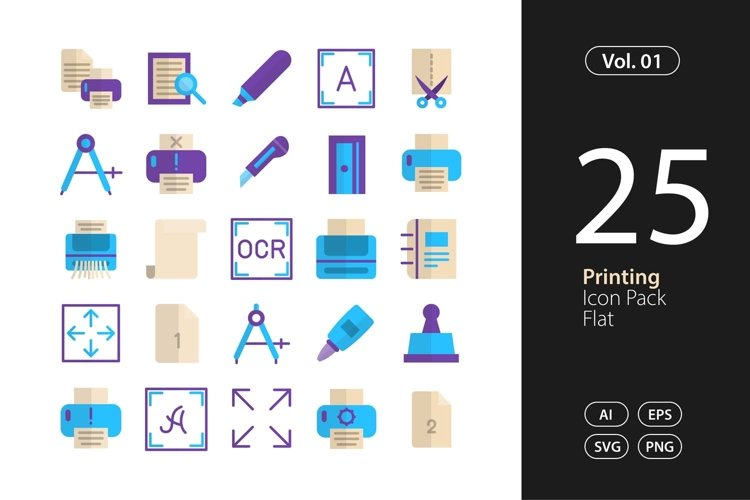 Printing Icon Flat SVG, EPS, PNG