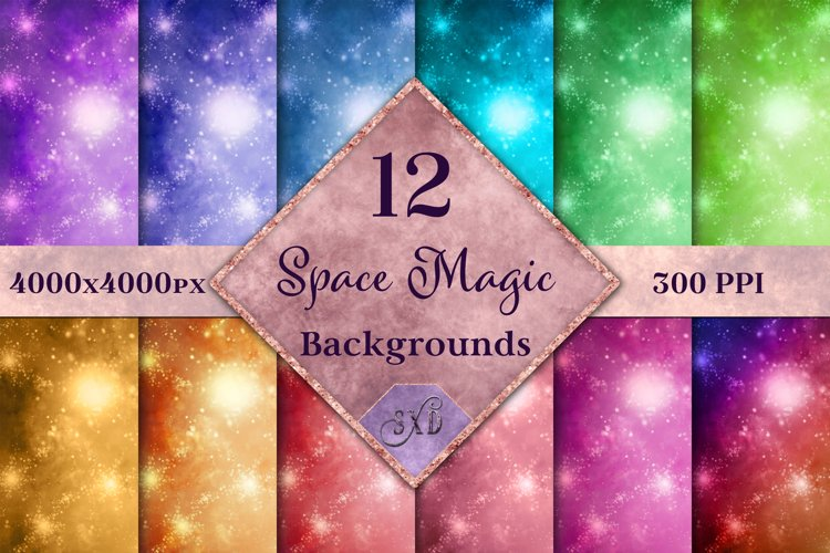 Space Magic Backgrounds - 12 Image Backgrounds Textures Set example image 1