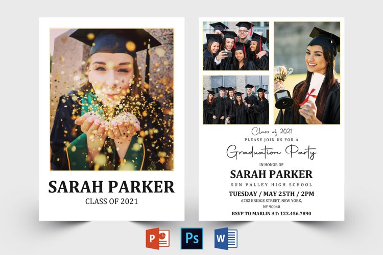 Graduation Announcement Template, Graduation Invitation Card