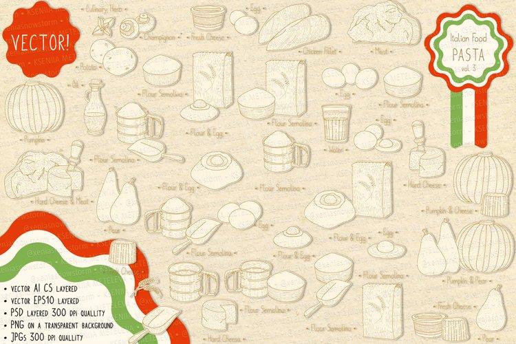 Italian Food. Pasta main ingredients & fillings. example image 1