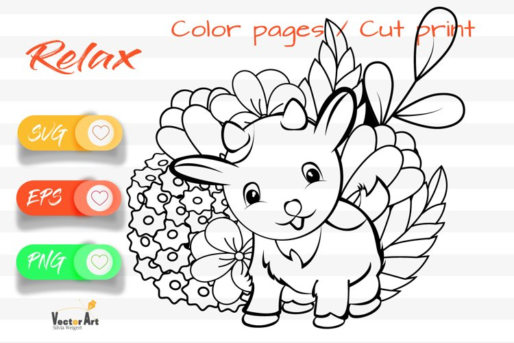 Litte Goat - Cut File and Coloring Page example image 1