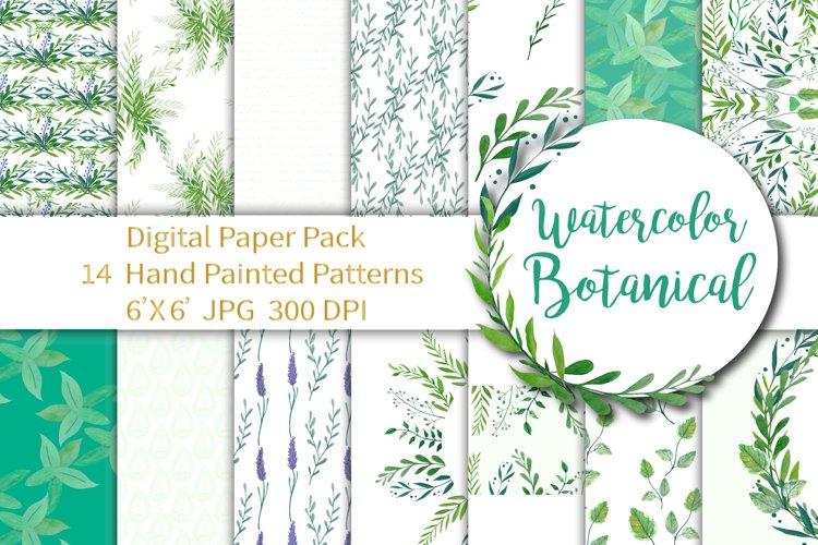 Watercolor Botanical Digital Paper example image 1