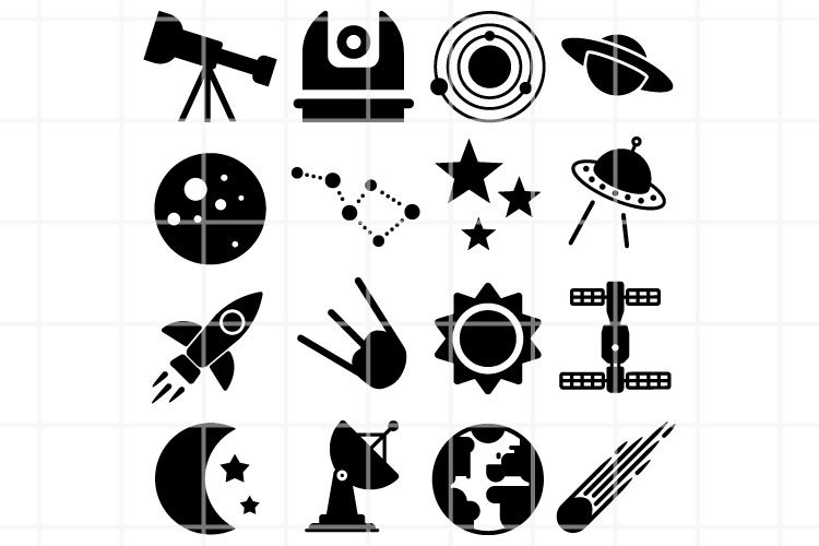 Astronomy icons. Space vectorfiles. Planets icon set.