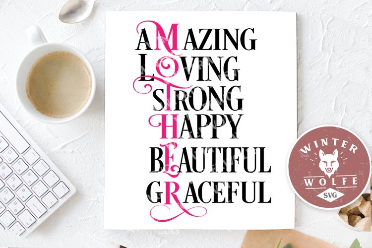 Mother scribble text SVG EPS DXF PNG example image 1