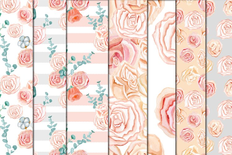 Set of watercolor clipart tender romantic flowers roses example image 1
