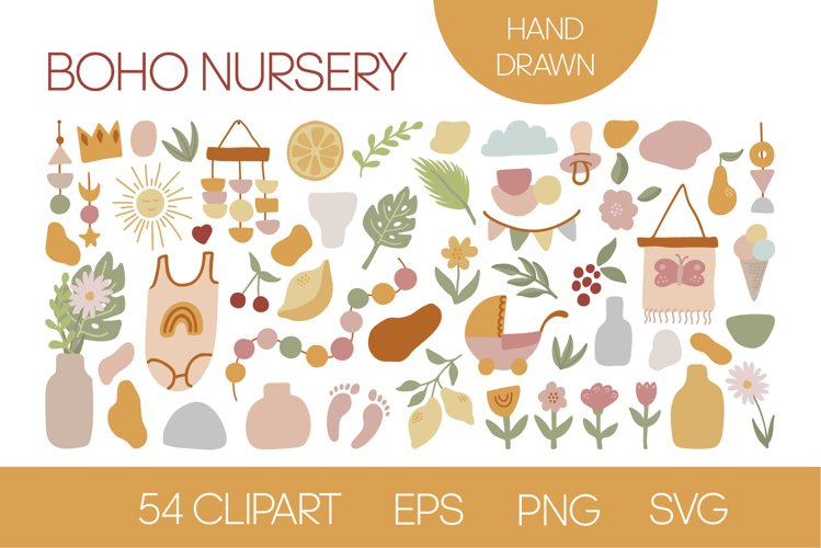 Cute boho clipart for nursery and baby shower. EPS, PNG, SVG