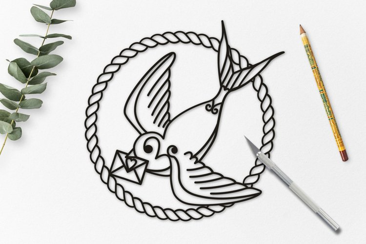 Swallow Paper Cut, Nautical SVG example image 1