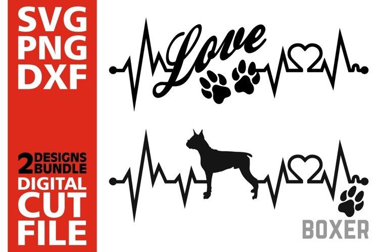 2x Boxer Bundle svg, Dog svg, EKG svg, Love svg, Heartline example image 1