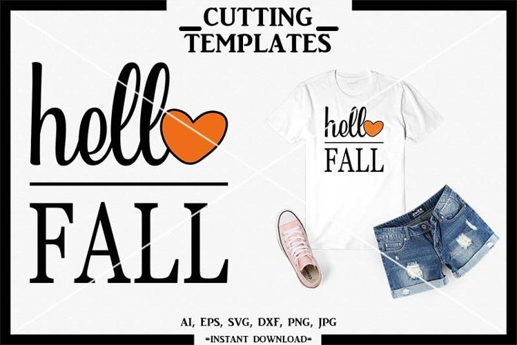Hello Fall SVG, Autumn SVG, Silhouette, Cricut, Cameo, SVG