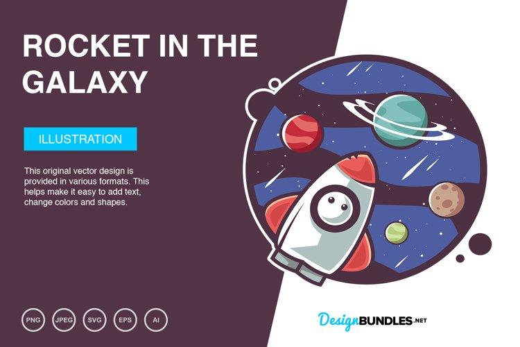 Rocket In The Galaxy Vector Illustration