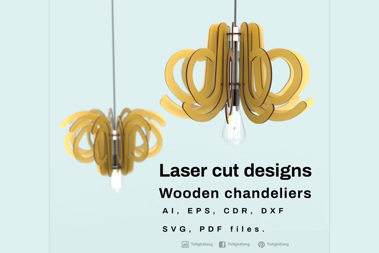 Wooden chandeliers - Laser cutting File example image 1