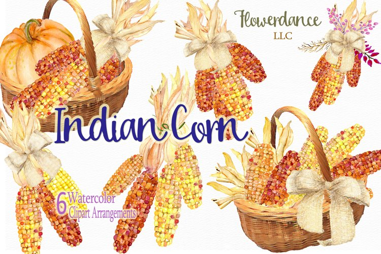 Indian Corn Watercolor Clipart, Rainbow Mix, Bi-Color, Sweet example image 1