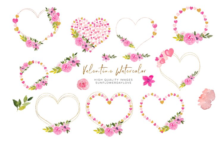 Heart Floral Pink Gold Frame Clipart, Geometric Heart example image 1