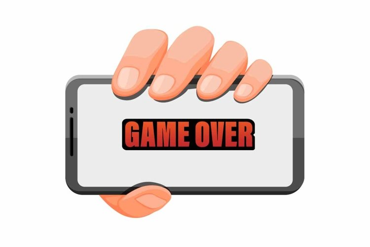 hand holding smartphone with game over symbol for gaming app example image 1